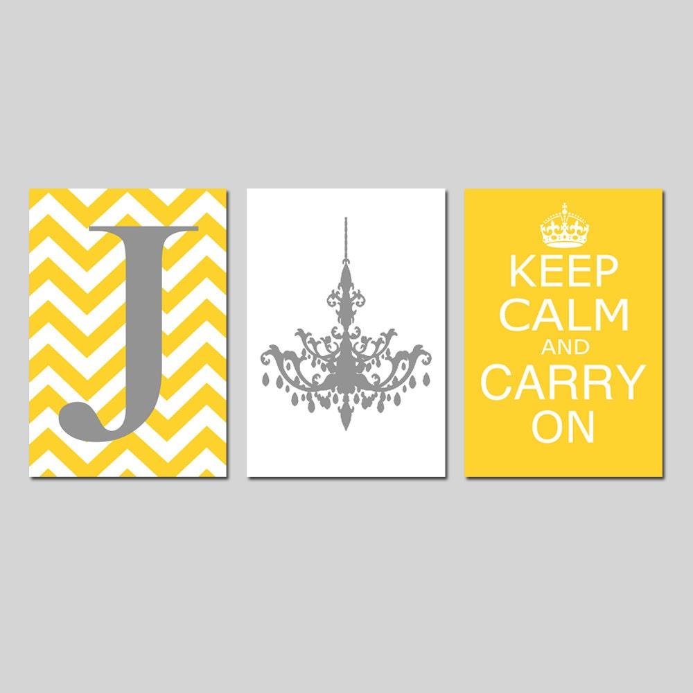Keep Calm Carry On Chevron Monogram Initial Chandelier Trio