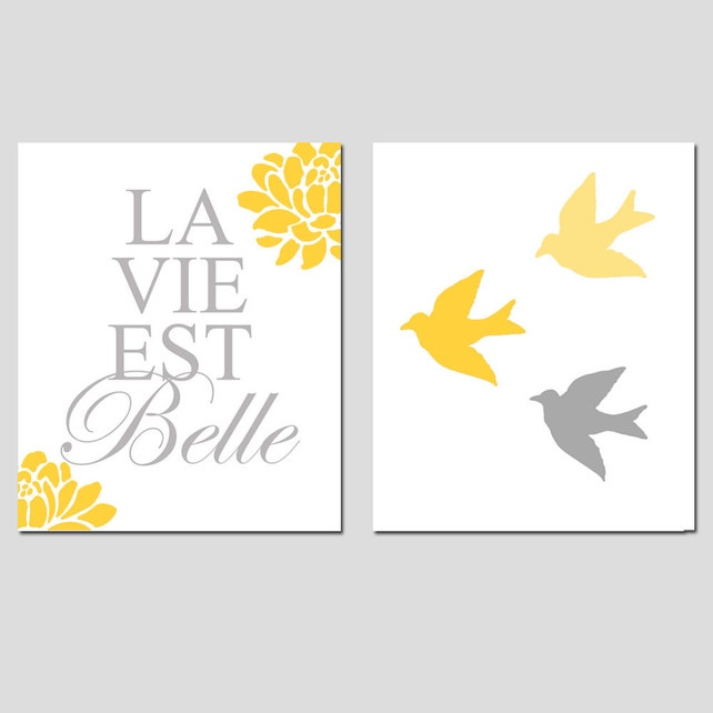 La Vie Est Belle French Floral Quote And Baby Birds Set Of Etsy