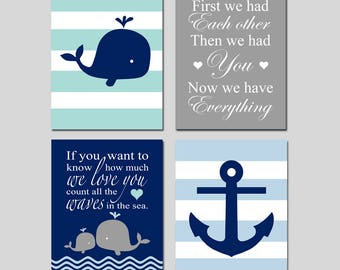 Ocean Nursery Decor Ocean Nursery Art Whale Nursery Art Whale Nursery Decor Nautical Nursery Art Baby Boy Set of 4 Prints CHOOSE YOUR COLORS