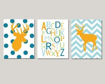 Deer Nursery Wall Art Set of 3 Prints for Woodland Nursery Decor - Chevron Deer, Alphabet, Polka Dot Deer - CHOOSE YOUR COLORS