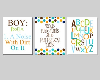 Boy Nursery Trio - Set of Three 8x10 Prints - Boy Definition, Frogs Snails Puppy Dog Tails, Alphabet - Kids Wall Art - CHOOSE YOUR COLORS