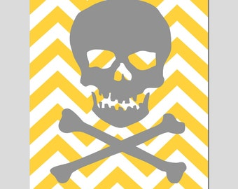 Chevron Skull and Crossbones - 8x10 Print - Trendy, Teen, Fun - CHOOSE YOUR COLORS - Shown in Gray, Yellow, Hot Pink, and More
