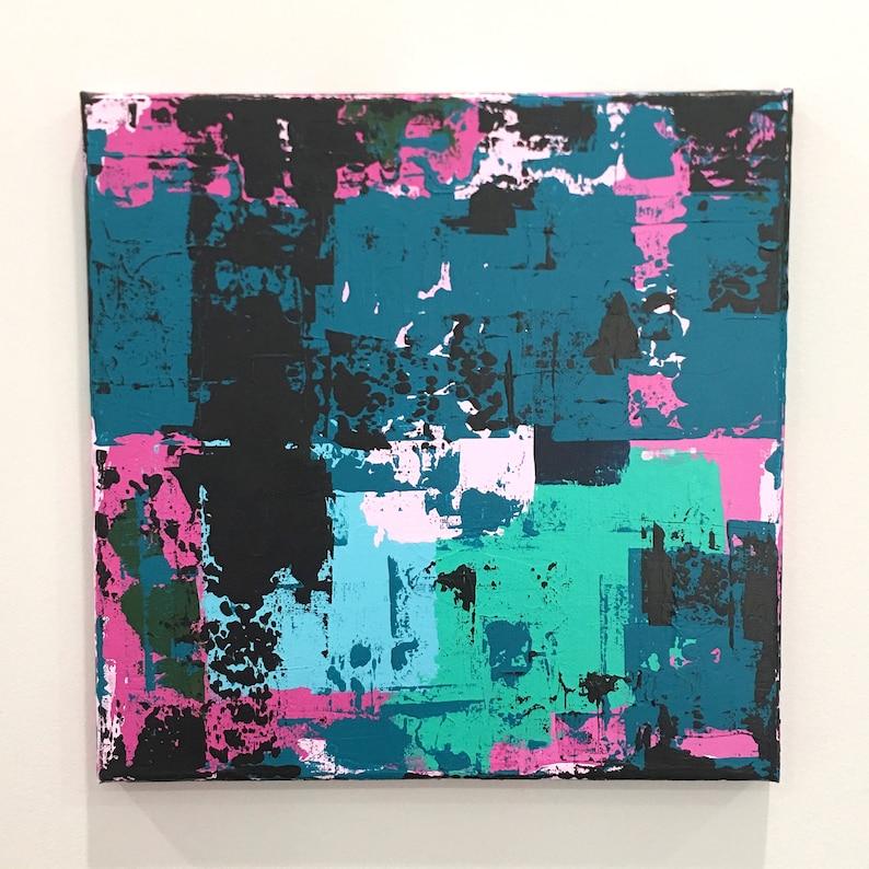 Awesome Teen Room Decor Teen Bedroom Art Colorful Abstract Art Colorful Abstract Painting 12X12 Canvas Hot Pink Black Turquoise Original Download Free Architecture Designs Ogrambritishbridgeorg