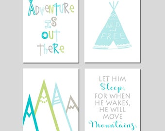 Adventure Nursery Art Adventure Nursery Decor Mountain Nursery Art Mountain Nursery Decor WOODLAND Nursery Art Set of 4 - Choose Your Colors