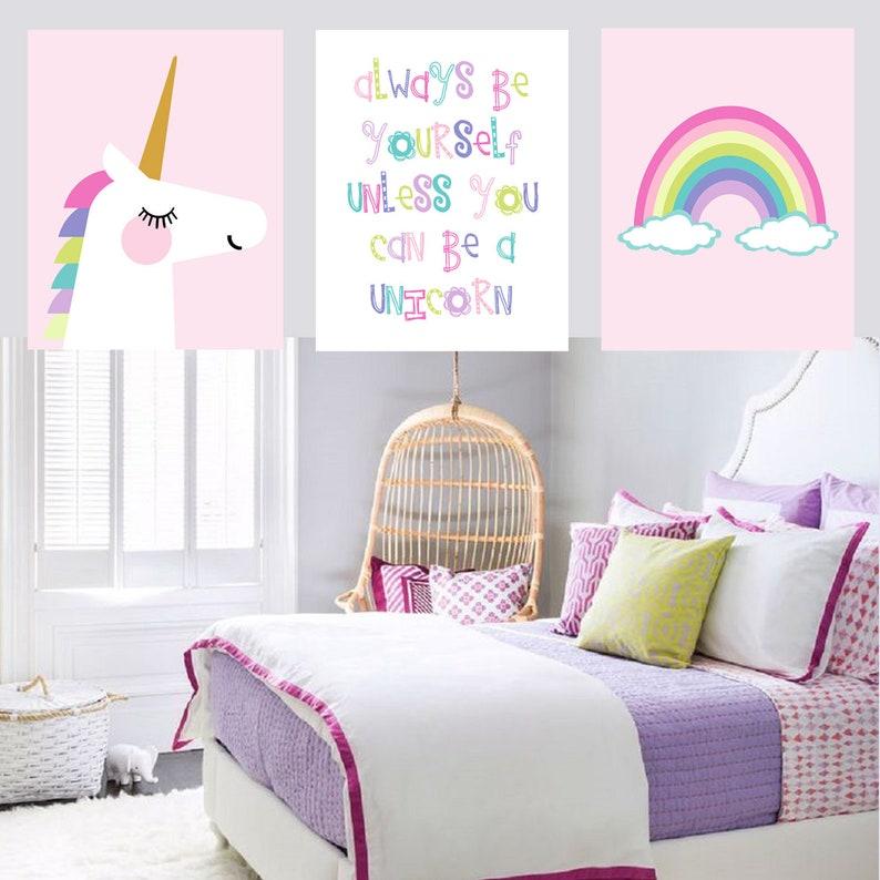 Unicorn Decor Unicorn Bedroom Art For Girls Unicorn Room Decor For Girls Unicorn Rainbow Art Set Of 3 Unicorn Prints Canvas Or Prints