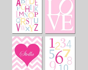 HEART Nursery Wall Art Baby GIRL Nursery Decor - Chevron Heart Name, LOVE, Alphabet, Numbers - Set of Four 8x10 Prints - Choose Your Colors