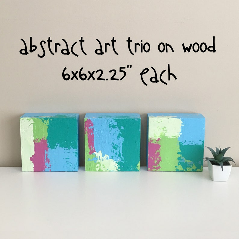 Tremendous Teen Room Decor Abstract Paintings On Wood Set Of 3 Abstract Art Colorful Abstract Art Modern Art 6X6 Inches Each Modern Paintings Download Free Architecture Designs Ogrambritishbridgeorg