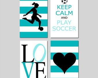 Soccer Wall Art Girl Soccer Decor Girl - Set of 4 Soccer Prints or Set of Four Soccer Canvas Art Soccer Player, Keep Calm and Play Soccer