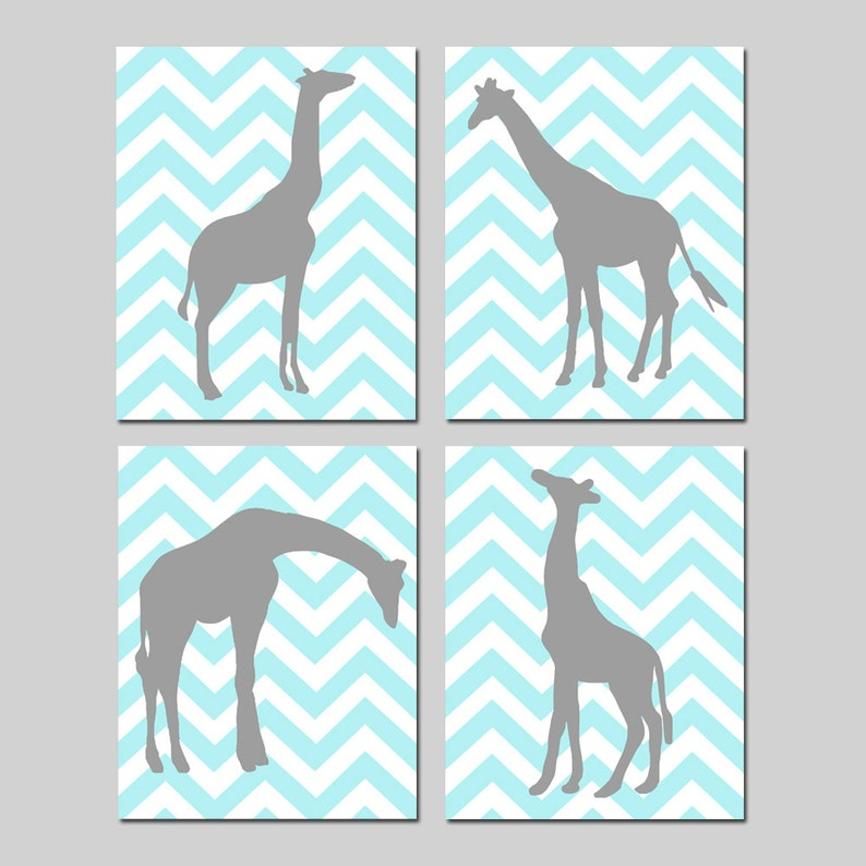 416e4d88563d Chevron Giraffe Nursery Art Quad Set of Four 8x10 Prints