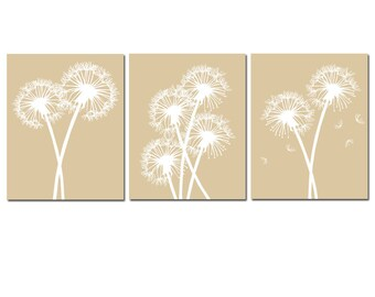 Modern Dandelion Trio - Set of Three Dandelion Floral 8x10 Coordinating Prints - CHOOSE YOUR COLORS - Shown in Tan and White