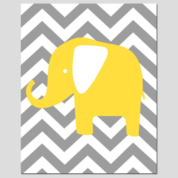 Nursery Wall Art Modern Chevron Elephant Silhouette 8x10
