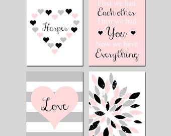 Heart Nursery Decor Heart Nursery Art Pink Nursery Art Pink Nursery Decor Pink and Black - First We Had Each Other Quote - Set of 4 Prints