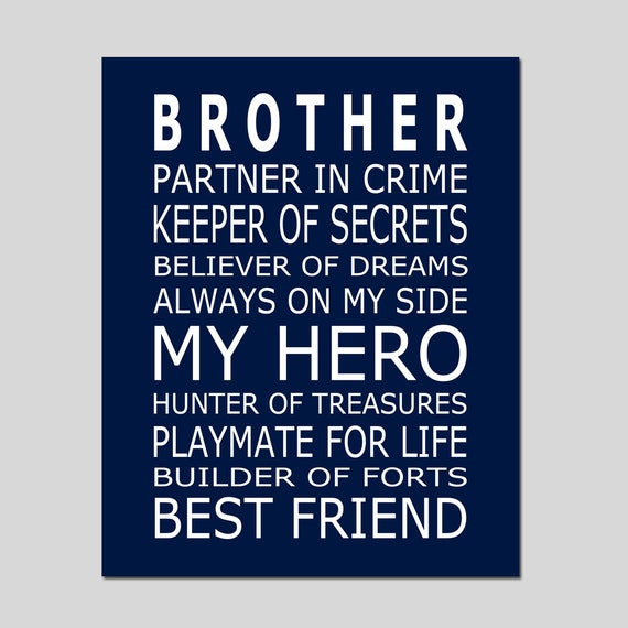BROTHERS Print - Brothers Quote - Brothers Decor - Big Brother Quote  Brothers Wall Art Boy Nursery Art Boy Rules Sign - Choose Your Colors