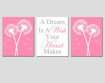 Baby Girl Nursery Art Decor - Baby Birds, Dandelions Flower, Cinderella Quote A Dream Is A Wish Your Heart Makes - Set of Three 8x10 Prints