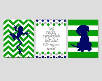 Baby Boy Nursery Art Trio - Chevron Frog, Stripe Puppy Dog, Frogs Snails and Puppy Dog Tails Quote - Set of Three 8x10 Prints
