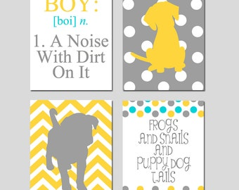 Baby Boy Nursery Art - Boy A Noise With Dirt On It - Set of Four 8x10 Prints - Frogs Snails and Puppy Dog Tails - CHOOSE YOUR COLORS