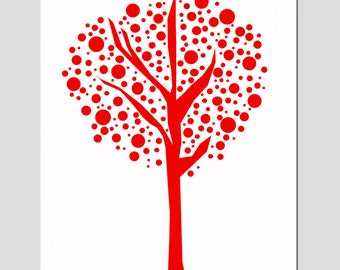 Tree Dot - 11x14 Print - Modern Nursery Art - Kids Wall Art - Wall Decor - CHOOSE YOUR COLORS - Shown in Red, Apple Green and More
