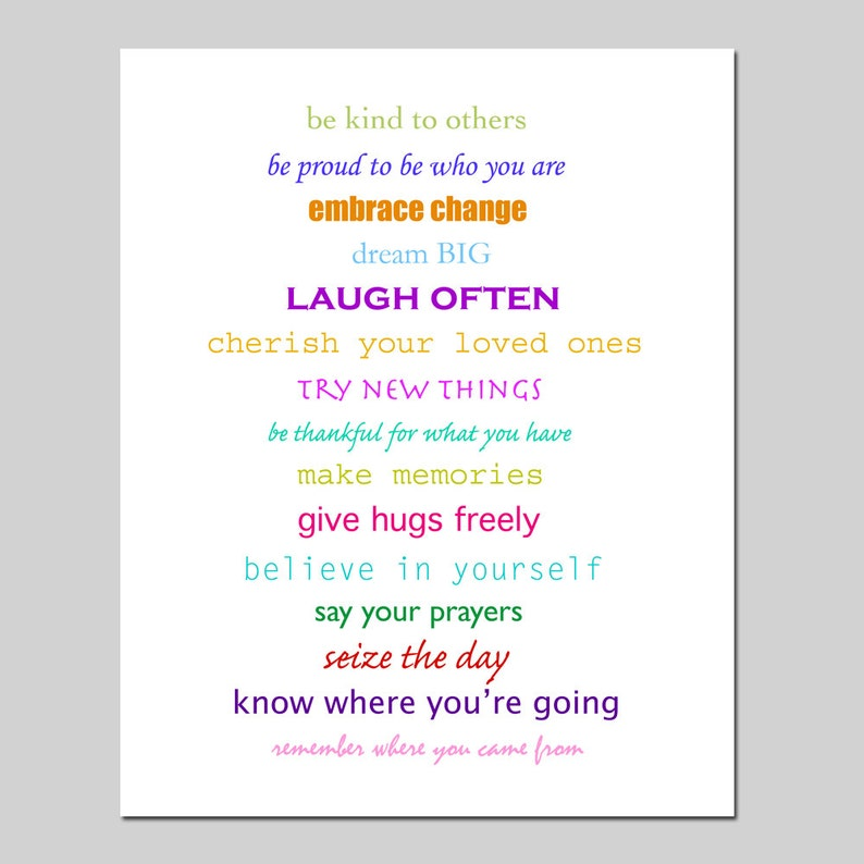 Inspiration 8x10 Print Featuring Inspirational Quotes And Etsy