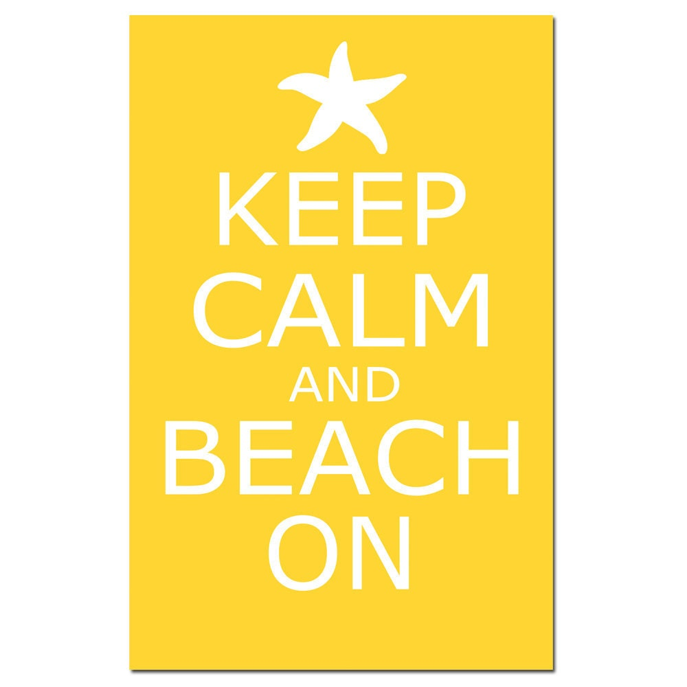 Keep Calm and Beach On 13x19 Large Poster Size Print   Etsy