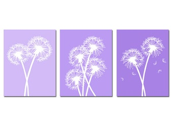 Dandelion Trio - Set of Three Dandelion Floral 8x10 Coordinating Prints - CHOOSE YOUR COLORS - Shown in Purple Lilac Medley and More