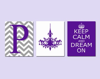 Girl Room Decor Teen Wall Art Dorm Decor Purple - Keep Calm and Dream On, Chevron Initial, Chandelier - Set of 3 Prints - CHOOSE YOUR COLORS
