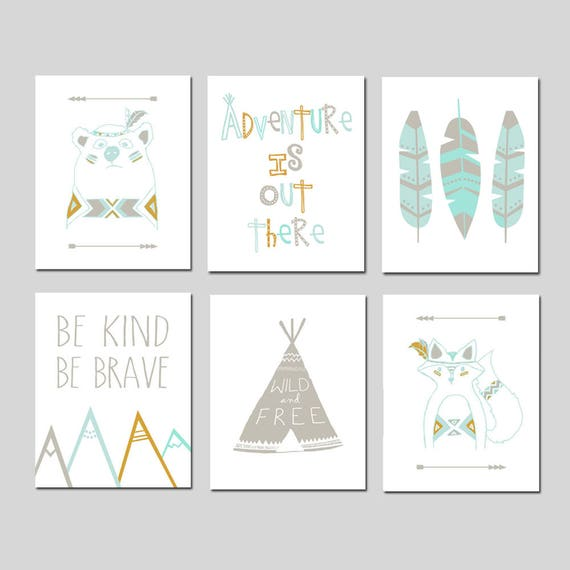 Tribal Nursery Wall Decor Prints Prints Your choice of Size Layout Teepee