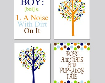 Baby Boy Nursery Art - Kids Wall Art - Boy Definition - Frogs Snails Puppy Dog Tails Quote - Tree Dot - Set Four 8x10