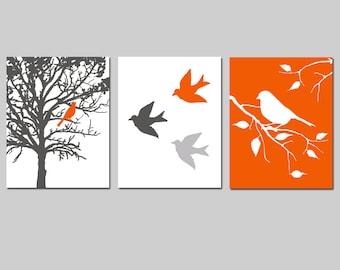 Bird Wall Art Set of 3 Bird Decor Nature Art Prints - Bird in a Tree Modern Bird Trio - Set of 3 Prints - CHOOSE YOUR COLORS