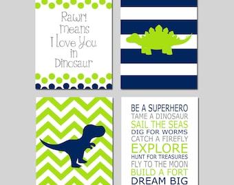Dinosaur Nursery Decor Dinosaur Nursery Art Navy Nursery Decor Rawr Means I Love You in Dinosaur Quote Set of 4 Prints - CHOOSE YOUR COLORS
