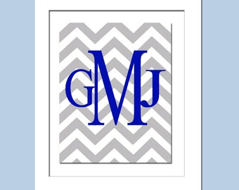 Chevron Monogram Initials - 5x7 Print - Nursery Art - Choose Your Letter and Colors