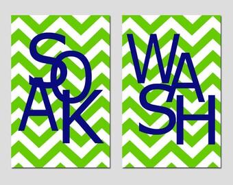 Kids Bathroom Wall Art Print Set - Pick TWO 11x17 Chevron Prints - Wash, Brush, Soak, Splish, Splash, Flush - Choose Your Colors