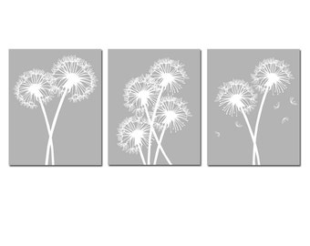 Modern Dandelion Trio - Set of Three 8x10 Dandelion Floral Prints - CHOOE YOUR COLORS - Shown in Gray, Royal Blue and More