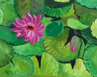 "Original Acrylic Painting, ""Think Pink"", 11""x14"""