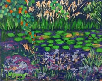 "Original Acrylic Painting, ""Enchanting Water Garden"", 11""x14"""