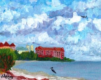 "Original Acrylic Painting, ""Sunrise City"", 8""x10 acrylic on canvas panel"