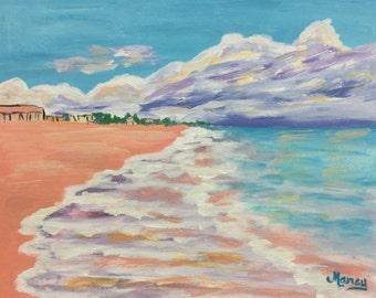 "Original Acrylic Painting, ""North Beach"", 11""x14"""