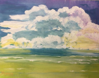 "Original Acrylic Painting, ""Beach Cloud"", 11""x14"""