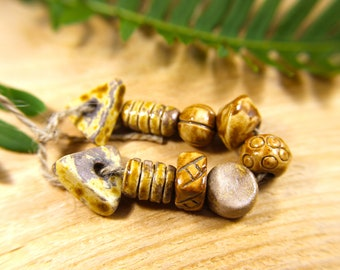 Earrings Bracelet Artisan Handmade Necklace Jewelry Ceramic Bead Set
