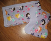 Princess Print Flannel Baby Receiving Blanket With Two Matching Burp Clothes