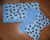 Baby 39 s Flannel Train Print Receiving Blanket With Two Matching Burp Clothes