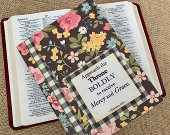 Legacy Prayer Journal, Bound Book, Bright Pink, Yellow and Blue Floral on Black Background with Black and White Plaid Accents