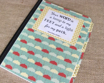 Mustard Seed Prayer Journal, Altered Composition Notebook, Red, Yellow, and Blue Umbrellas with Yellow Polka Dot Back