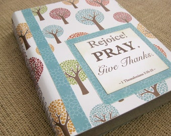 Legacy Prayer Journal, Bound Book, Fall Trees with Teal Floral Accents