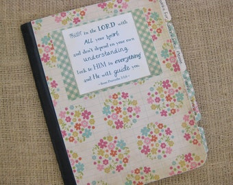 Mustard Seed Prayer Journal, Altered Composition Notebook, Mini Floral Bouquets with Green Gingham Back