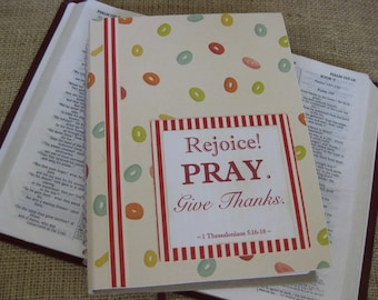 Legacy Prayer Journal, Bound Book, Multicolored Rings with Red and White Striped Accents