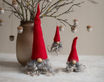 Christmas gnome for rustic holiday decor - Choose 1 or a set of 3 cute fuzzy shelf sitters or ornament - Farmhouse Scandinavian style tomte