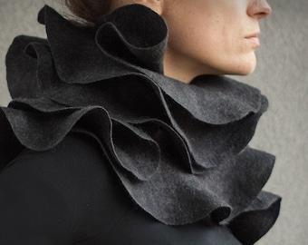 Elegant statement ruffle scarf - Sculptural charcoal grey nuno felted ruffled shawl - Wearable wool silk fiber art - Eco fashion