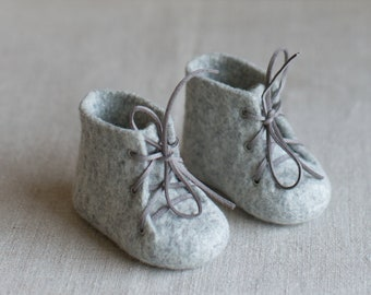 Newborn booties, Natural organic merino wool boots, Felted unisex eco friendly grey laced shoes for baby shower gift made by Vaida Petreikis