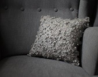 Faux Sheepskin pillow - Handmade felted eco fur cushion from gray organic wool - Original home decor - Ready to ship made by Vaida Petreikis