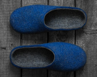 Wool slippers for men with rubber soles - real rustic style felted home shoes in dark gray and cobalt royal blue - anniversary gift for him